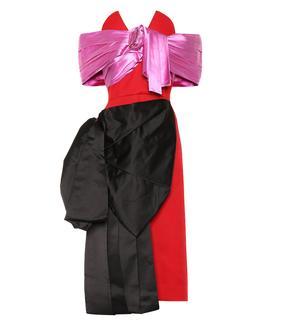 Prada - Robe aus Wolle und Seidensatin