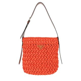 Prada - Hobo Bag - Bucket Bag Raffia Papaya/White - in orange - für Damen