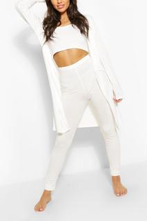 boohoo - Womens 3 Piece Legging & Dressing Gown Lounge Set - White - 8, White
