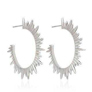 Rachel Jackson London - Ohrringe - Statement Sunrays Hoops Silver - in silber - für Damen