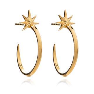 Rachel Jackson London - Ohrringe - Shooting Star Medium Hoops Silver - in gold - für Damen