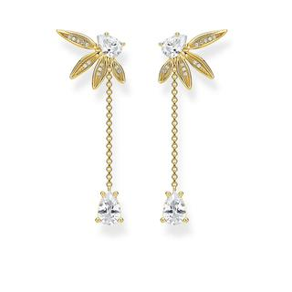 Thomas Sabo - Ohrringe - Earring Leaves With Chain Gold - in gelbgold - für Damen