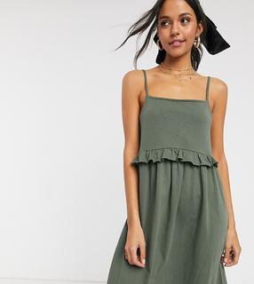 ASOS Tall - ASOS DESIGN Tall – Mini-Sommerkleid mit Trägern und Rüschen in Khaki-Grün