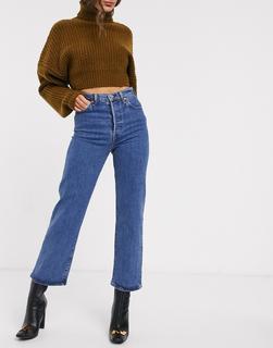 Levis - Ribcage– Knöchellange Jeans mit gerade geschnittenen Hosenbeinen in verwaschenem Dunkelblau