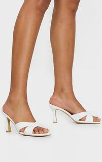 PrettyLittleThing - White Cross Strap Flare Low Heel Mules, White