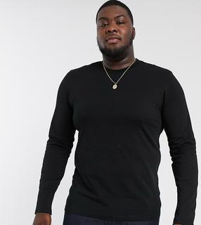 ASOS DESIGN - Plus – Langärmeliges Shirt mit Rundhalsausschnitt in Schwarz