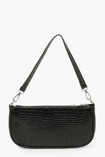 boohoo - Womens Croc Baguette Shoulder Bag - Black - One Size, Black