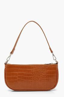 boohoo - Womens Croc Baguette Shoulder Bag - Brown - One Size, Brown