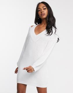 ASOS DESIGN - Pulloverkleid mit V- und Zierausschnitten-Weiß