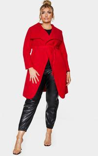 PrettyLittleThing - Plus Veronica Red Oversized Waterfall Belted Coat, Red