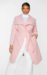 PrettyLittleThing - Plus Veronica Dusty Pink Oversized Waterfall Belt Coat, Pink