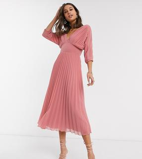 ASOS Tall - ASOS DESIGN Tall – Plissiertes Midikleid mit Fledermausärmeln in Tea Rose-Rosa