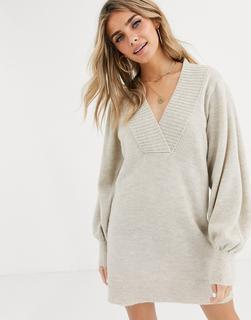 ASOS DESIGN - Pulloverkleid mit tiefem V-Ausschnitt und voluminösen Ärmeln-Stone