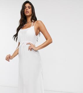Akasa - Exklusives Midi-Strandkleid mit Raffung in Weiß