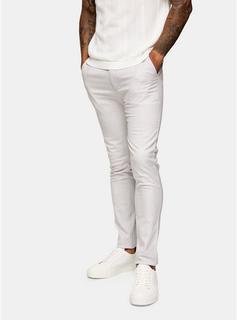 Topman - Mens Big & Tall Light Grey Check Trousers*, Grey