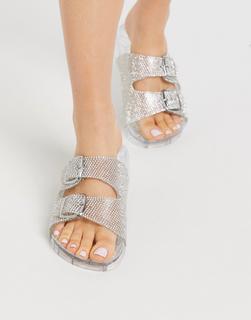 Truffle Collection - Transparente, verzierte Sandalen mit doppelter Schnalle-Mehrfarbig