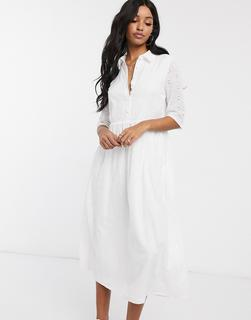 Missguided - Ausgestelltes, weißes Midi-Hemdkleid mit Lochstickerei