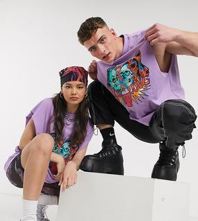 Collusion - Ärmelloses Unisex-T-Shirt mit Tattoo-Druck in Lila-Violett