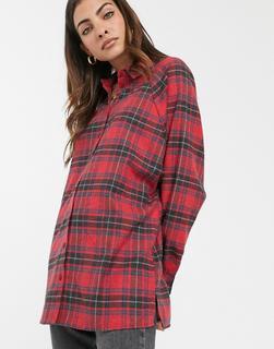 ASOS DESIGN - Langärmliges Boyfriend-Hemd in rotem und schwarzem Schottenstoff kariert-Mehrfarbig
