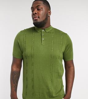 New Look - Plus – Polohemd mit Zopfstrickmuster in Khaki-Grün