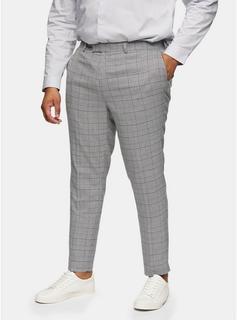 Topman - Mens Big Grey Check Skinny Fit Suit Trousers*, Grey