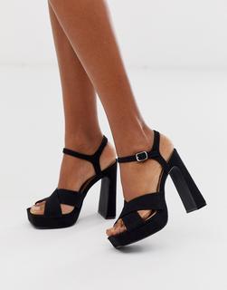 Truffle Collection - Schwarze Plarteau-Sandalen mit hohen Absätzen und gekreuzten Riemen