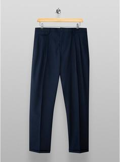 Selected Homme - Mens Selected Homme Navy Cropped Pleated Trousers, Navy
