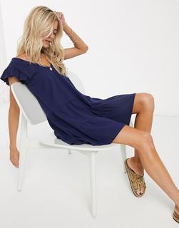 ASOS DESIGN - Gestuftes Hängerkleid in Marineblau mit V-Ausschnitt und Rüschenärmeln