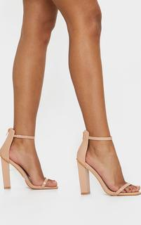 PrettyLittleThing - Nude Square Toe High Block Heel Sandals, Pink