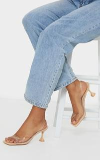 PrettyLittleThing - Nude Low Cake Stand Square Toe Clear Strap Slingback Heeled Sandals, Pink