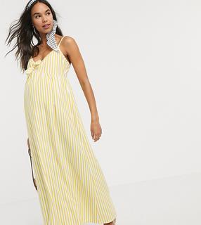 ASOS Maternity - ASOS DESIGN Maternity – Gestreiftes Maxi-Sommerkleid mit Camisole-Trägern und Schleife-Mehrfarbig
