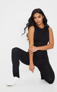 PrettyLittleThing - Petite Black Sleeveless Jersey Split Hem Jumpsuit, Black