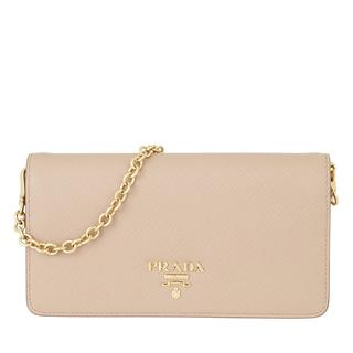 Prada - Umhängetasche - Logo Wallet on Chain Saffiano Leather Cipria - in beige - für Damen