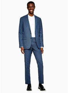 Topman - Mens Blue Two Tone Skinny Fit Suit Trousers, Blue