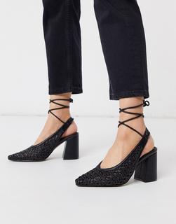 ASOS DESIGN - Shay – Schwarze High Heels in gewebter Optik, mit spitzem Zehenbereich und Beinschnürung