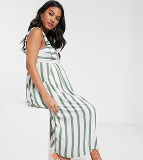 ASOS Maternity - ASOS DESIGN Maternity – Geknöpftes Midi-Sommerkleid im Latzhosen-Design mit Streifen-Mehrfarbig