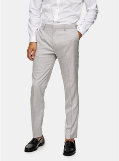 Topman - Mens Grey Wide Leg Suit Trousers, Grey