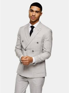 Topman - Mens Grey Slim Fit Double Breasted Suit Blazer With Peak Lapels, Grey