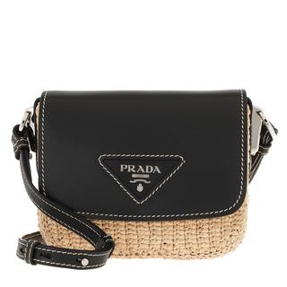 Prada - Umhängetasche - Shoulder Bag Raffia Leather Beige/Black - in schwarz - für Damen