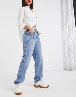 Tommy Jeans - Carpenter-Jeans in verwaschenem Mittelblau mit hohem Bund