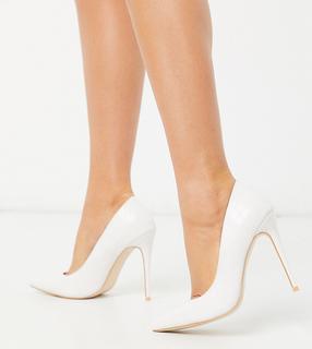 SIMMI Shoes - Simmi London – Imani – Exklusive, weiße Pumps mit Schlangenmuster und Stiletto-Absatz