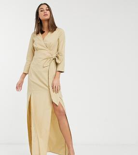 Glamorous Tall - Midi-Wickelkleid aus strukturiertem Material-Bronze