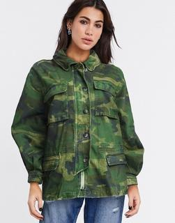 Free People - Leichte Jacke mit Military-Muster-Grün