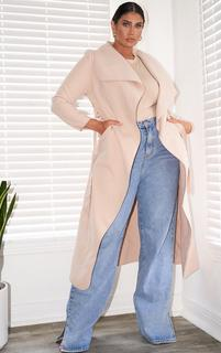 PrettyLittleThing - Plus Stone Maxi Length Oversized Waterfall Belted Coat, White