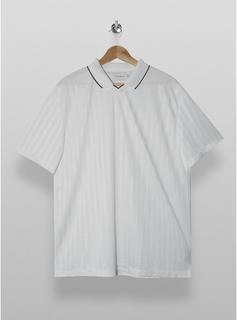 Topman - Mens White Football Style Polo, White