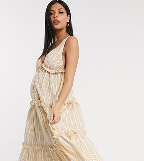 ASOS Maternity - ASOS DESIGN Maternity – Gestuftes, gestreiftes Midi-Sommerkleid mit Knopfleiste-Mehrfarbig