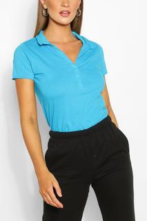 boohoo - Womens Basic Polo T-Shirt - Blue - Xs, Blue
