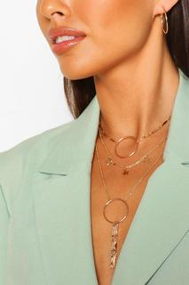 boohoo - Womens Star And Ring Layered Plunge Necklace - Metallics - One Size, Metallics