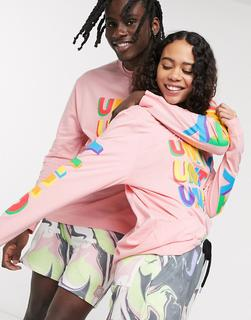 ASOS DESIGN - x glaad& – Langärmliges Unisex-Shirt in Oversize Fit mit Unity-Print in Rosa