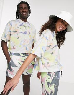 ASOS DESIGN - x glaad& – Kurz geschnittenes, geblümtes Unisex-T-Shirt, Kombiteil-Mehrfarbig